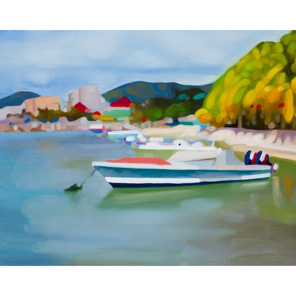 St. Maarten Boats oil painting by Katrie Bonanno