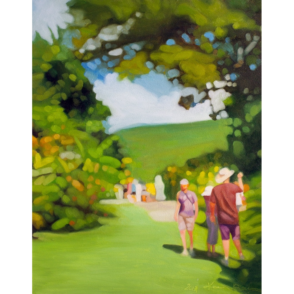photo: oil on masonite painting by artist Katrie Bonanno tourists in St. Kitts walking outside in a green landscape scene. The Tourists
