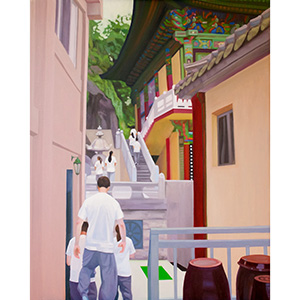 image: oil on canvas painting by artist Katrie Bonanno of Buddhist temple stay in Seoul South Korea. meditation.