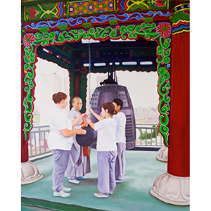 image: oil on canvas painting by artist Katrie Bonanno of Buddhist nun teaching students to strike bell in Buddhist temple in Seoul South Korea