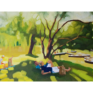 image: oil on canvas painting by artist Katrie Bonanno of people relaxing watching boaters in central park boathouse in New York City