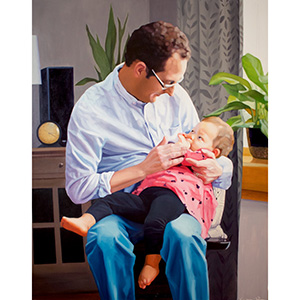 image: oil on wood panel painting by artist Katrie Bonanno of father holding baby girl