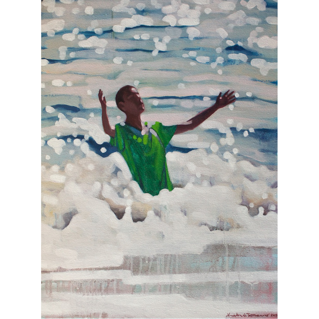 photo: oil on canvas painting by artist Katrie Bonanno of swimmer falling into the wave Letting go