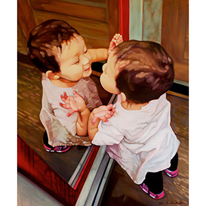 image: oil painting baby portrait child portrait of 17 month old child