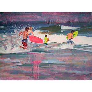 image: oil on masonite painting of surfers in the ocean by artist Katrie Bonanno