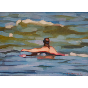 image: oil on masonite painting of a swimmer in the ocean by artist Katrie Bonanno