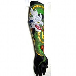 image: Prosthetic arm tattoo painting by Hudson Valley NY artist Katrie Arena.  Dragon head and body coiled around arm.  Dragon has white head, yellow eyes, green and yellow body.  Painted in 2011.