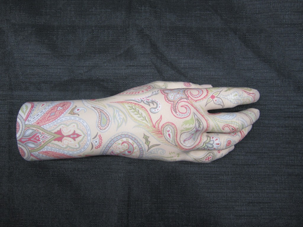 photo: Prosthetic hand tattoo painting by Hudson Valley NY artist Katrie Arena.  Paisley design.  Painted in 2011. Paisley Hand