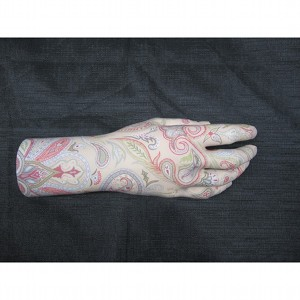 image: Prosthetic hand tattoo painting by Hudson Valley NY artist Katrie Arena.  Paisley design.  Painted in 2011.