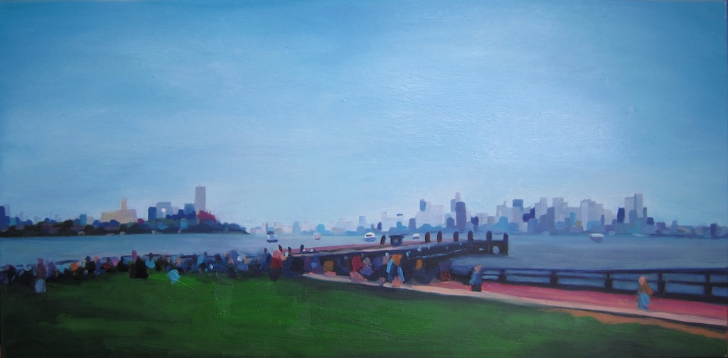 oil painting by Katrie Arena of lower Manhattan from Liberty Island.  2011.