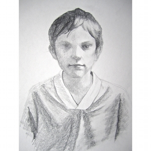 image: Pencil on paper drawing by Hudson Valley NY artist Katrie Arena.  Her nephew John Paul.  Drawn in 2007.