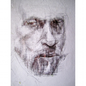 image: Pen on handmade paper drawing by Hudson Valley NY artist Katrie Arena.  Portrait of man face with goatee.  Drawn in 2001.