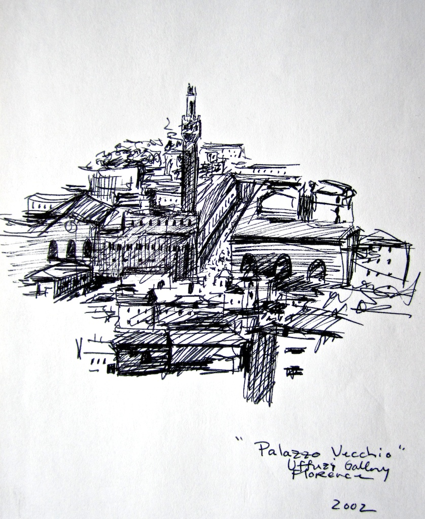 photo: Pen on paper drawing by Hudson Valley NY artist Katrie Arena.  The Palazzo Vecchio in Florence, Italy.  Drawn in 2002. Florence: Palazzo Vecchio