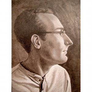 image: Pencil drawing by Hudson Valley, NY artist Katrie Arena.  Portrait of James Bonanno.  Drawn in 2012.