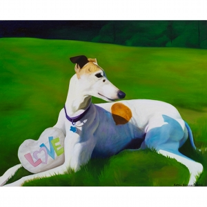 image: oil on masonite pet portrait of Lotus the dog painted by Katrie Bonanno.