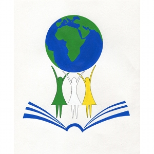 image: logo designed for peace corps camp in Togo africa acrylic and marker on paper by Katrie Bonanno.