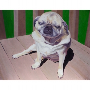 image: Pet portrait oil painting of dog named Zeus, a pug, painted by artist Katrie Bonanno.