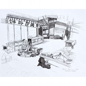 image: pen on paper drawing of Namdaemun Market in Seoul, South Korea by artist Katrie Bonanno.