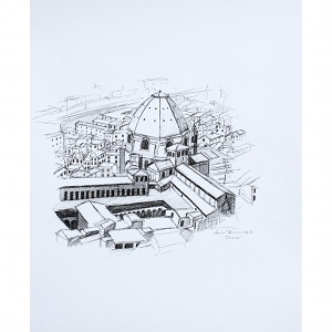 image: pen on paper drawing of the Duomo in Florence, Italy by artist Katrie Bonanno.