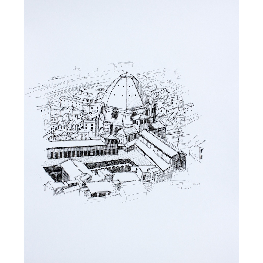photo: pen on paper drawing of the Duomo in Florence, Italy by artist Katrie Bonanno. Duomo