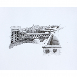 image: pen on paper drawing of the Arno River in Florence, Italy by artist Katrie Bonanno.