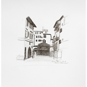 image: pen on paper drawing of Italian restaurant in Florence, Italy by artist Katrie Bonanno.