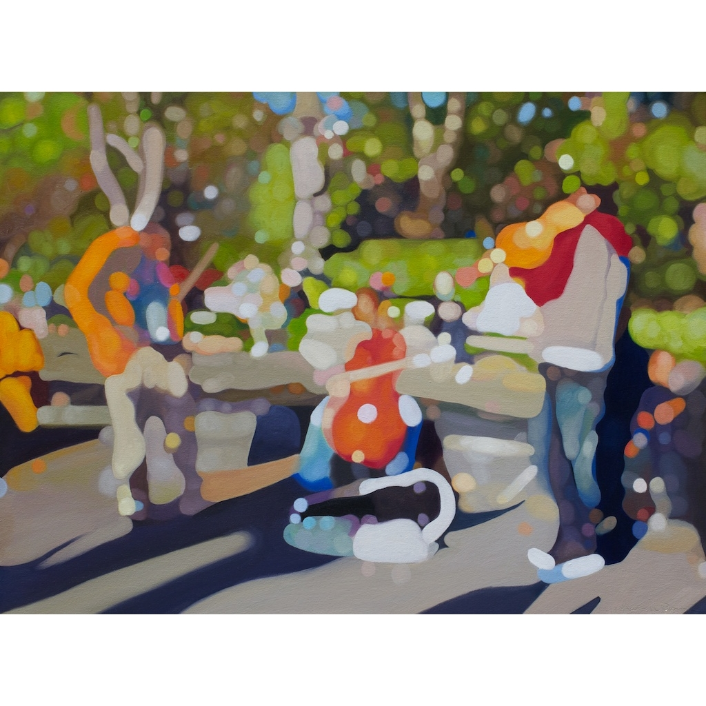 photo: oil on canvas painting by artist Katrie Bonanno of violinists playing Canon in D in Washington Square Park.  Canon in D